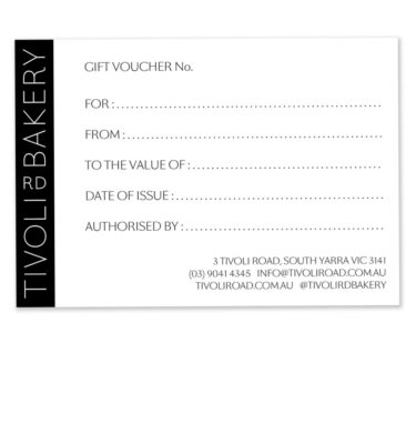 Tivoli Road Bakery Gift Voucher