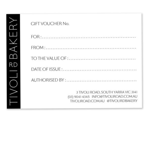 Tivoli Road Bakery Gift Voucher